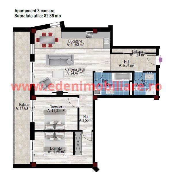 Apartament 3 camere de vanzare in Cluj, zona Andrei Muresanu, 1200 eur