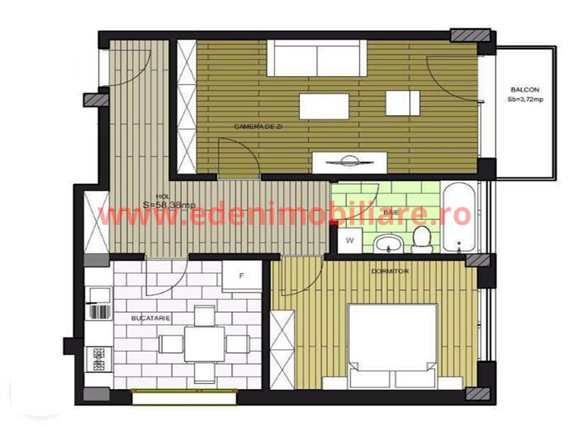 Apartament 2 camere de vanzare in Cluj, zona Borhanci, 58000 eur
