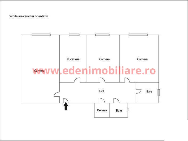 Apartament 3 camere de vanzare in Cluj, zona Zorilor, 75000 eur