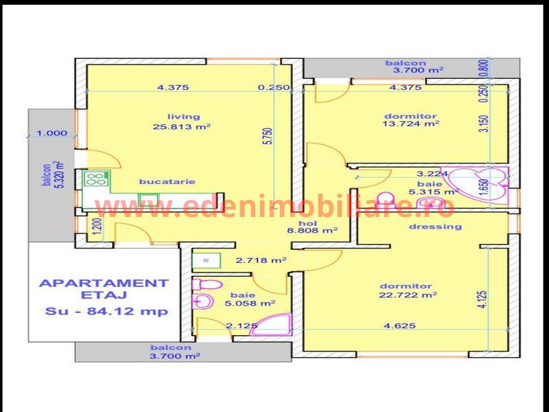 Apartament 3 camere de vanzare in Cluj, zona Buna-Ziua, 98000 eur