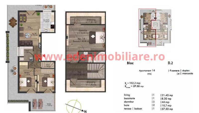 Apartament 4 camere de vanzare in Cluj, zona Buna-Ziua, 124848 eur