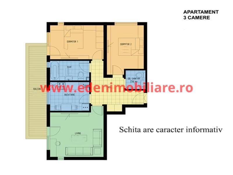 Apartament 3 camere de vanzare in Cluj, zona Marasti, 86000 eur