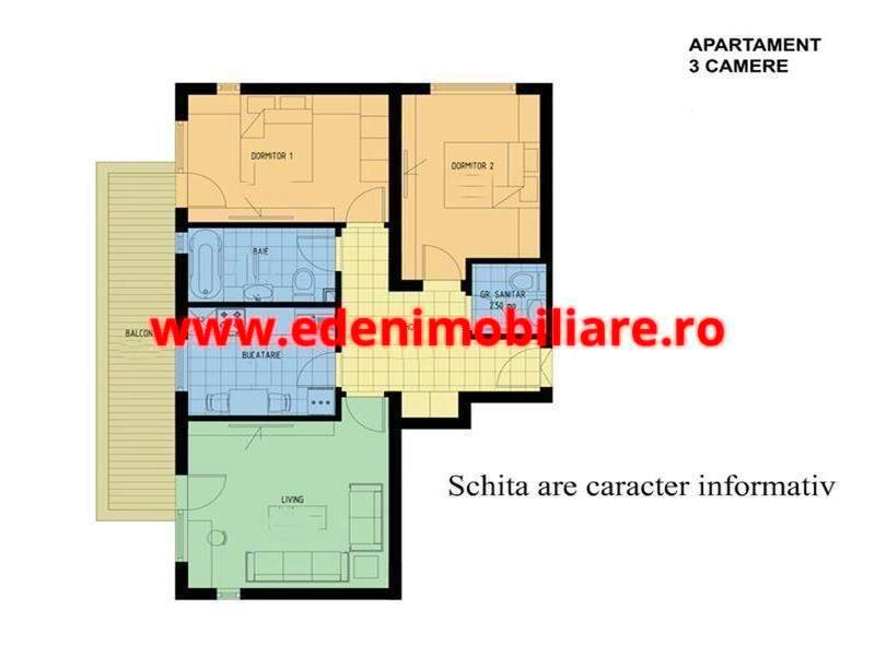 Apartament 3 camere de vanzare in Cluj, zona Manastur, 68500 eur