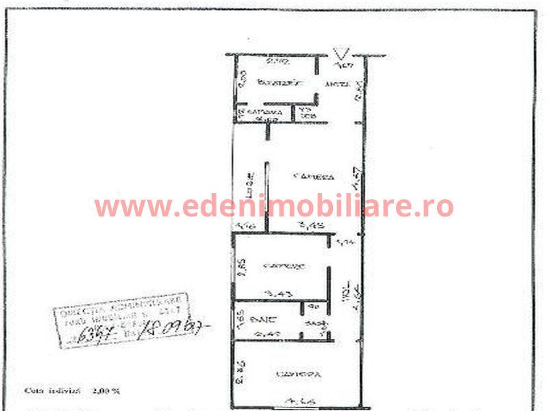 Apartament 3 camere de vanzare in Cluj, zona Gheorgheni, 62000 eur