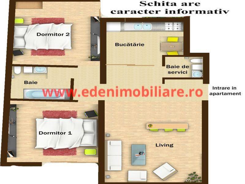 Apartament 3 camere de vanzare in Cluj, zona Zorilor, 109200 eur