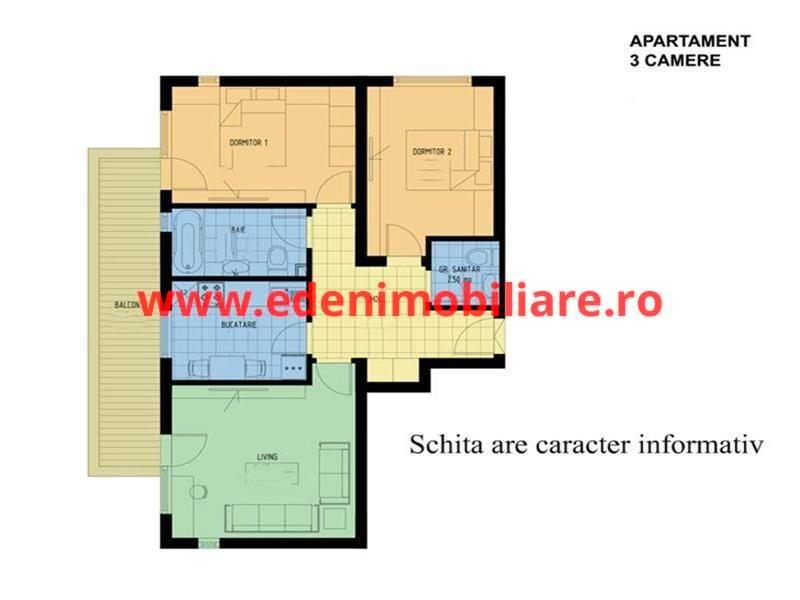 Apartament 3 camere de vanzare in Cluj, zona Buna-Ziua, 57000 eur