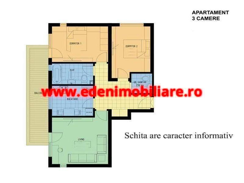 Apartament 3 camere de vanzare in Cluj, zona Manastur, 159000 eur