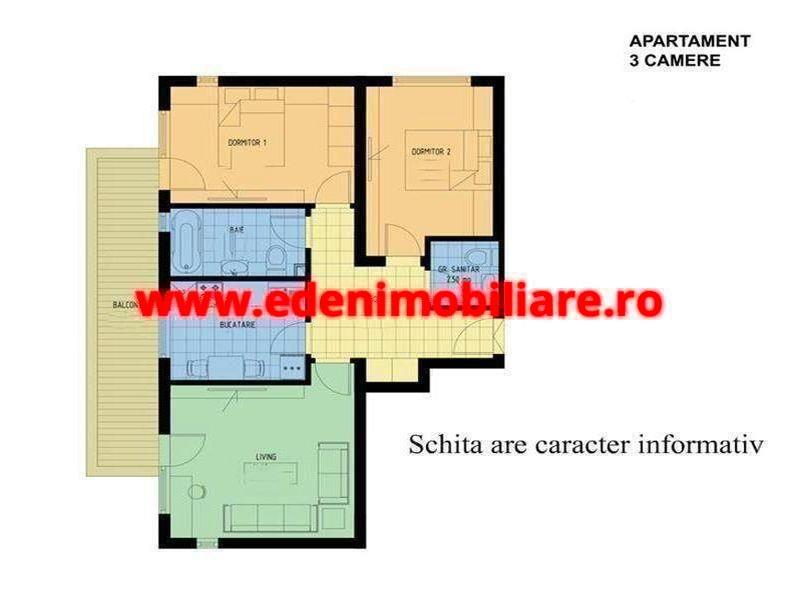 Apartament 3 camere de vanzare in Cluj, zona Gheorgheni, 77000 eur