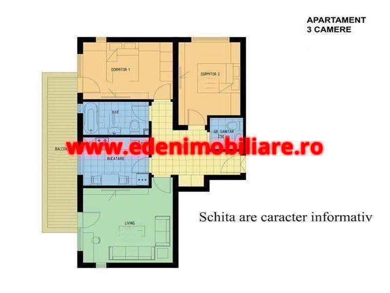 Apartament 3 camere de vanzare in Cluj, zona Manastur, 86000 eur