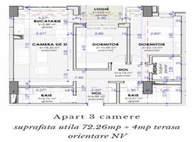 Apartament 3 camere 73 m imobil nou zona Calea Turzii