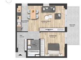 Apartament 2 camere 54 m+terasa zona Intre Lacuri